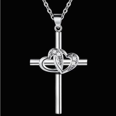 White Gold Plated Double love cross necklace necklace