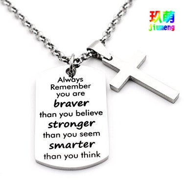 Necklace Chain Cross Pendant Inspirational Jewelry Quotes Gift for Girl Teen Dau