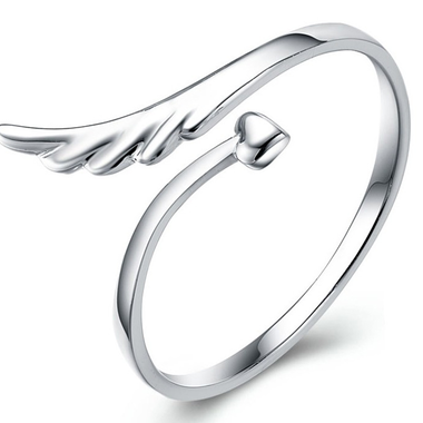 925 Silver Plated Heart Wing Opening Ring