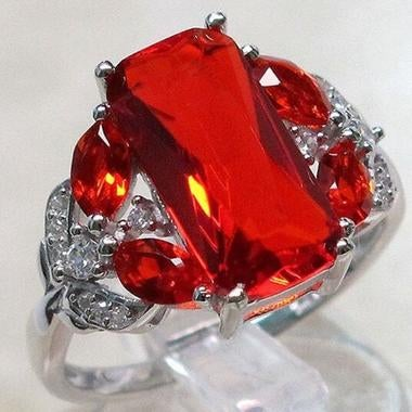 Large 925 Silver Red Diamonique Ring Engagement Party Women Jewelry