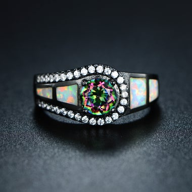 Black Rhodium Plated Genuine Topaz & Lab Created Genuine Ethiopian Opal Cocktail