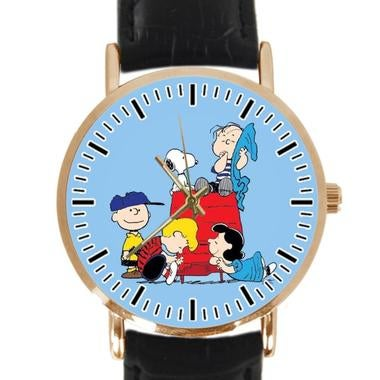 Snoopy Custom Classic Leather Strap Wrist Quatrz Watch