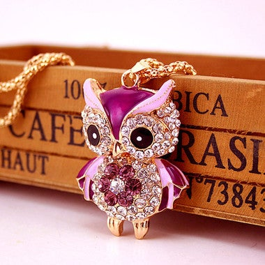 Fashion Crystal Purple Owl Necklace