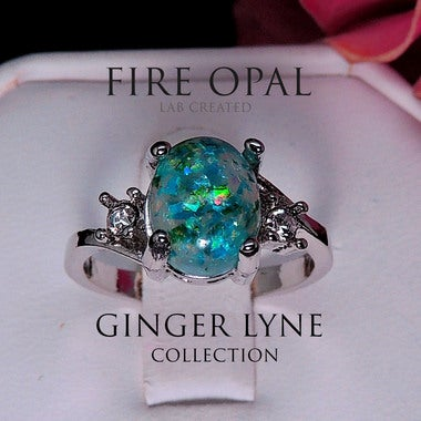 Arlette Oval Shape Lab Created Fire Green Opal Ring - Ginger Lyne Collection