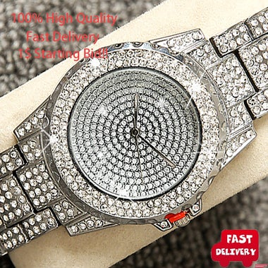 Luxury Bling Bling Fashion Jewelry Crystal Rhinestone Watches Steel Band Round