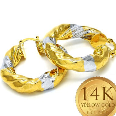Vintage Hoop Earring, Gold Filled (FJ099401)