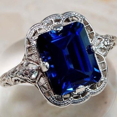 Gorgeous 2.7ct Lab Created Blue Sapphire Ring Vintage18K White Gold Plated Ring