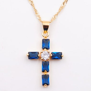 Modernist Genuine Blue AAA Zircon Cross Pendant In Yellow Gold Filled