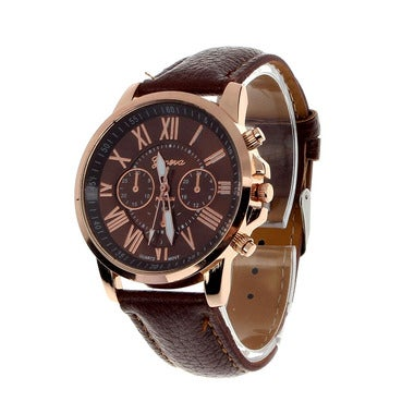 Feitong New Casual Watch Women Dress Watches Roman PU Leather Quartz WristWatch