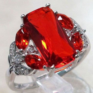 Gorgeous Modernist Genuine Red AAA Zircon Asymmetric Ring In White Gold Filled