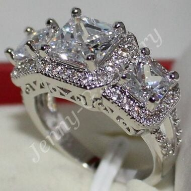 Women White 3 Stone Diamonique wedding ring