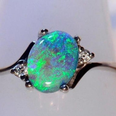 Fire Synthetic Opal Birthstone Ring Proposal Wedding Ring For Women
