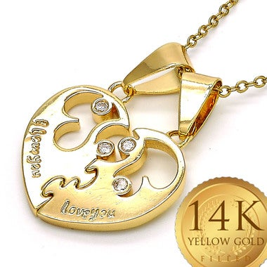 Channel Set simulated DIAMOND Open Heart 2 pc Interlocking Pendants Necklace in