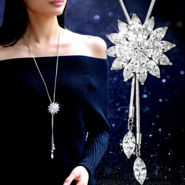 Luxury AAA zircon Rhine Stone flower nacklace long chain necklace