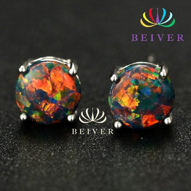Luxury 2.0 cttw Synthetic Fire Opal Earring in White Gold Plated