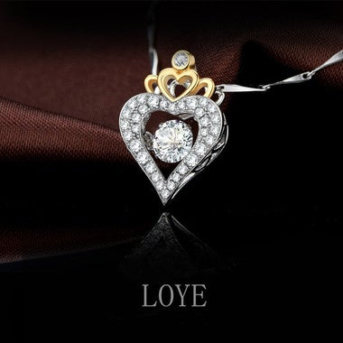 Luxury ultra-shiny AAA zircon heart-shaped crown necklace Valentine's Day gift