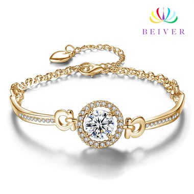 Super Shining AAA CZ Bracelet in 18K White Gold / Yellow Gold Plated