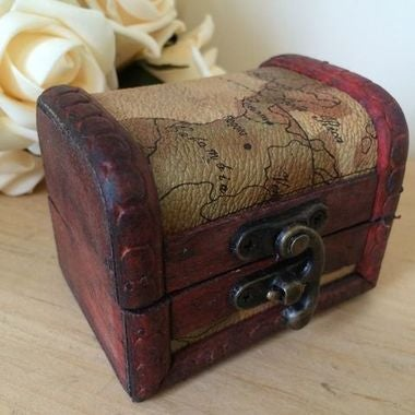 Mini Wooden Storage Box Jewellery Cufflinks Chest Small Gift Vintage Map