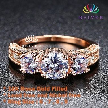 Luxury 18K Rose Gold Filled 2.5 cttw Brilliant Cut Gogerous Engagement&wedding R