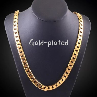 18K gold plated flat sideways necklace 10MM gold-plated necklace
