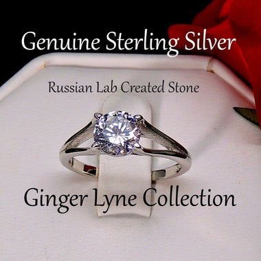 Ariel Sterling Silver Hearts and Arrows Engagement Bridal Wedding Ring - Ginger
