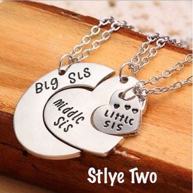 Big Sis Middle Sis Little SIs Heart Necklaces