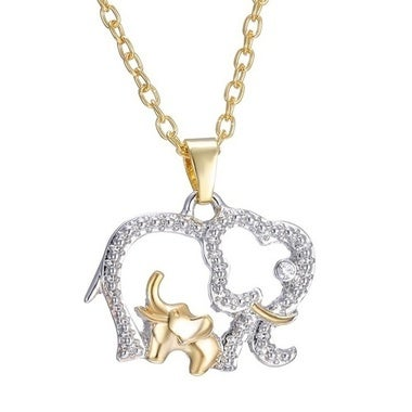 Mother's Day Gift Creative Necklace 18K Gold Cute Animal Double Elephant Pendant