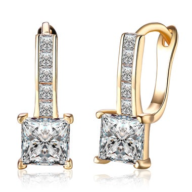 18K Champagne Gold AAA Zircon Inlaid Stud Earrings