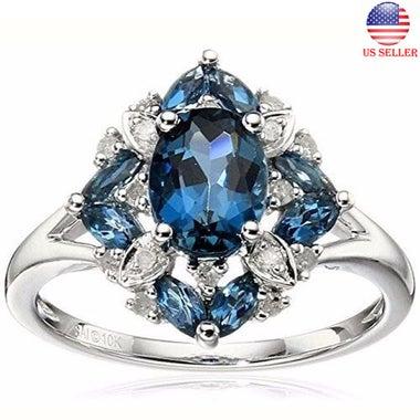 Gorgeous Silver Plated Lake Blue Wedding Engagement Ring Size 6-10