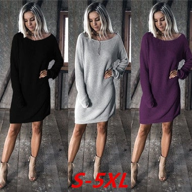 Winter Fleece Womens Casual Long Sleeve Vintage Knitted Sweater Long Dress