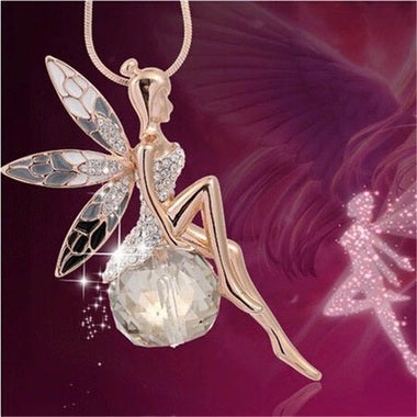High-end jewelry crystal Angel Elf Wing Long necklace