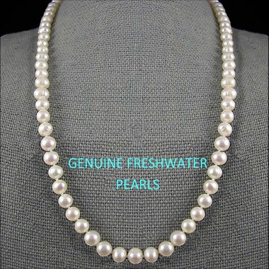 Stunning Genuine Freshwater White Pearl Necklace