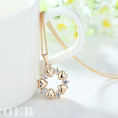 Luxury  Gold Plated Heart Necklaces And Pendants with AAA Zircon