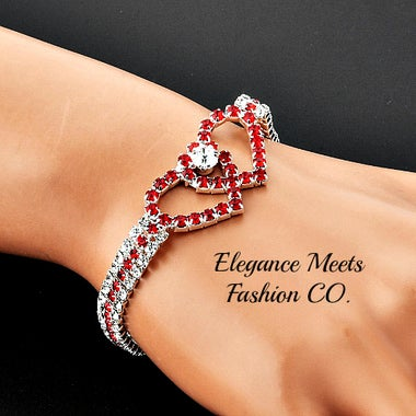 SILVER PLATED DOUBLE HEART RUBY RED CRYSTAL BRACELET