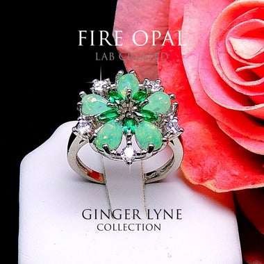 Fiona Flower Lab Created Fire Green Opal Ring - Ginger Lyne Collection