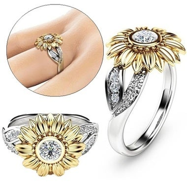 Thanksgiving Christmas Gift Exquisite Women's Floral Ring Round Flower Sunflower