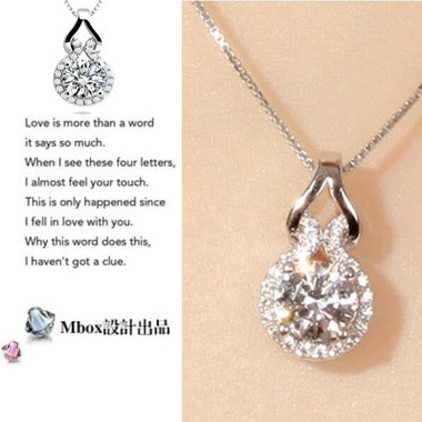 High quality 18K White goldfilled 5A zircon necklace