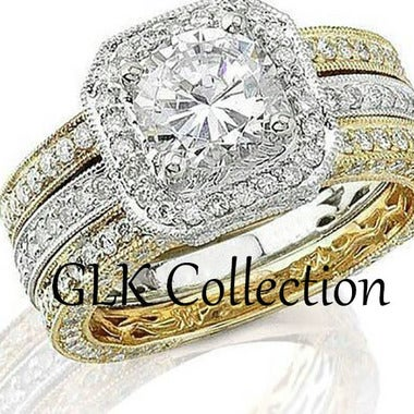 Marissa 3 piece Two Tone Engagement Wedding Band Ring Bridal Set- GLK Collection