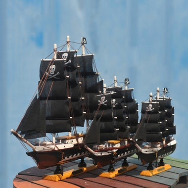 Wooden Model Pirate Ship Boat Sailing Vessel Assembled On Stand Black Sails