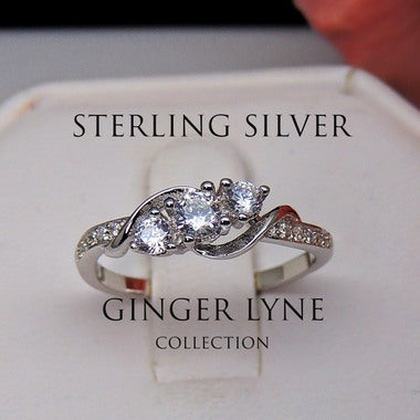 Lydia 3 stone Engagement Wedding Ring 925 Sterling Silver - Ginger Lyne Collecti