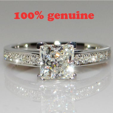 real cut 3.5 carats diamond and white gold wedding gift