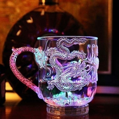 Automatic LED Dragon Flashing Cup Mug Bar Water Sensor Colorful Luminous Cup