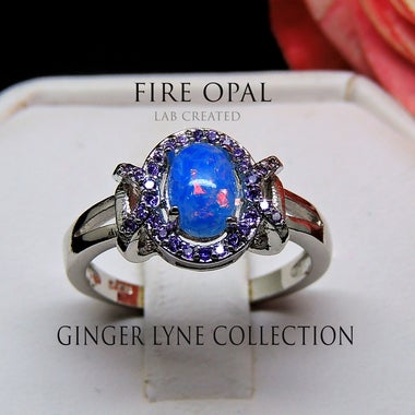 Cheyenne Oval Lab Created Blue Fire Opal Purple CZ Accent Ring - Ginger Lyne Col