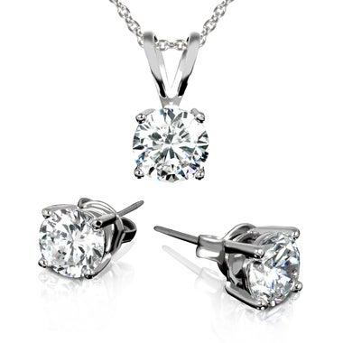 3.00 CTW Stud Earrings and Necklace Set