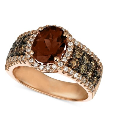 Halo Oval Cut Chocolate CZ Rose Gold Color Women Wedding Engagement Ring Luxury