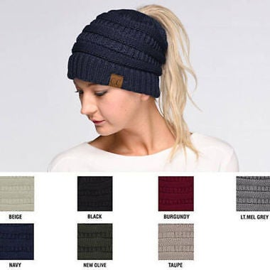 New Women's Solid CC Beanie Cable Knit Hat Thick Slouchy Cap One Size