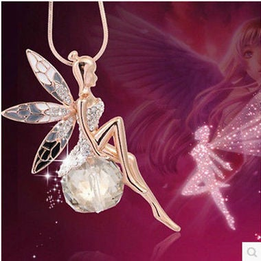 1pcs Exquisite Little Fairy On Clear AAA Zircon Ball Pendant Necklace