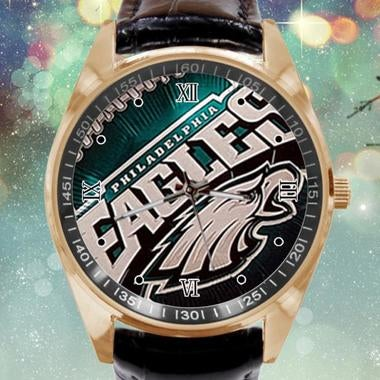 Philadelphia Eagles Image Custom Leather Band Quartz Sport Analogue Wrist Watch