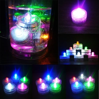 1pc Waterproof Submersible LED Tea Lights Electronic Candle Battery Wedding Vase