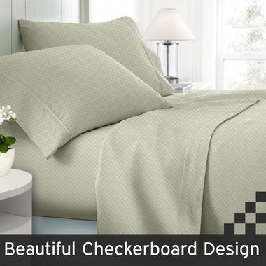Checkered Collection Embossed Deep Pocket 1800 Series 4 Piece  Bed Sheet Set Co